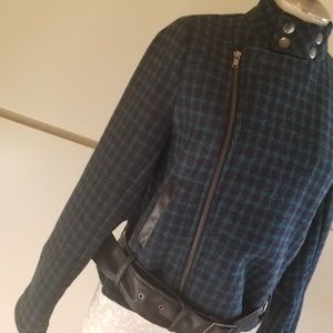 Ivory rose Navy/ Green plaid moto style jacket,s/m